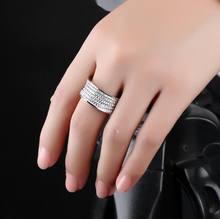 AAA Quality Fashion Full Circle Pave Premium Rhinestone Crystals Classic Stainless Steel Silver Ring for Women