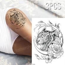 bf7d5b46b 3pcs/lot temporary tiger tattoo black panther tattoo sketches tattoo designs  sexy tatoo for woman