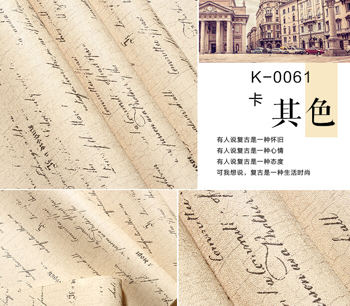 Vogue new 2016 hot sale English letters wall paper clothing store cafe wallpaper Nostalgic British wind restoring ancient ways<br>