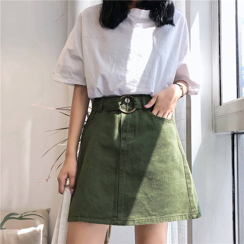 Women Blue Casual Mini Denim Skirt Summer New Basic Pocket Jeans Women Cute Sweet Girls Dance Skirt