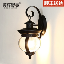 American outdoor waterproof single head wall lamp vintage brief outdoor balcony glass lighting fitting led