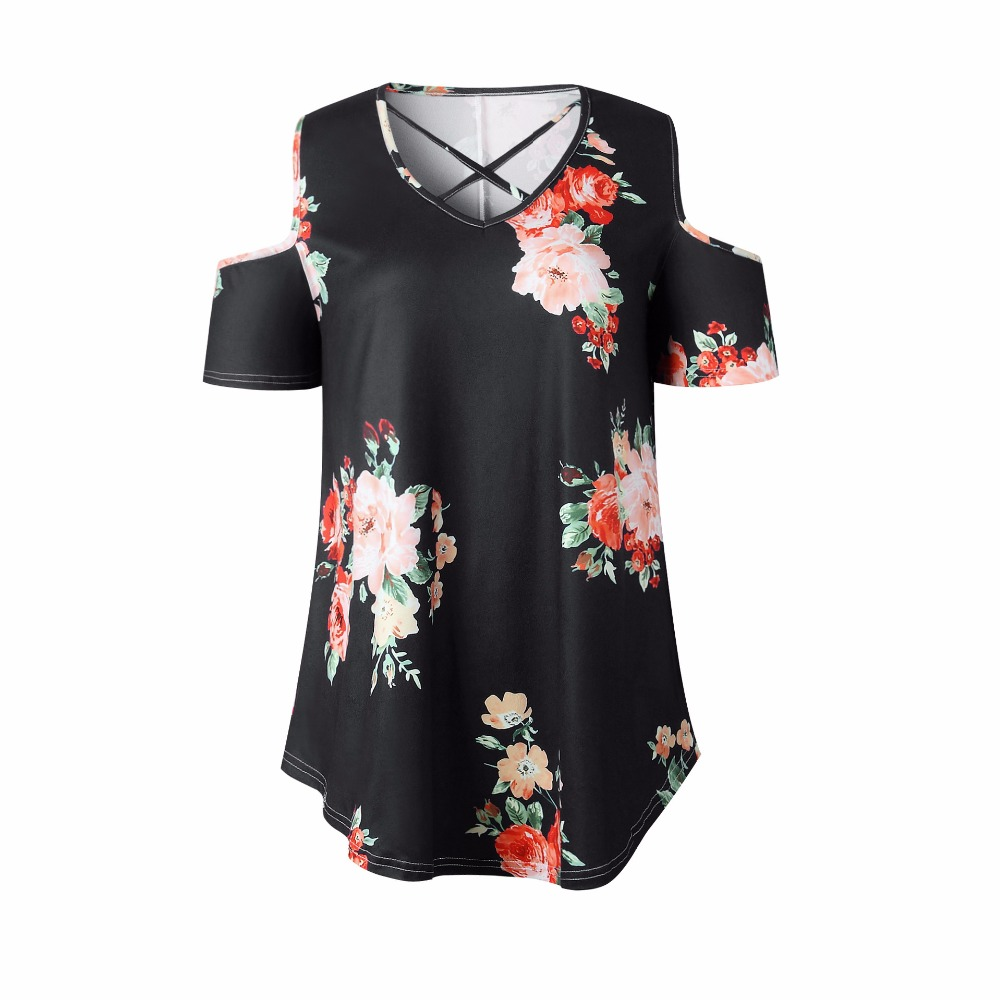 New 2018 Spring Summer Tops Women Short Sleeve Sexy Casual T-shirt Print Slim Off Shoulder T-shirt Flowers Print Tops T-shirt 10