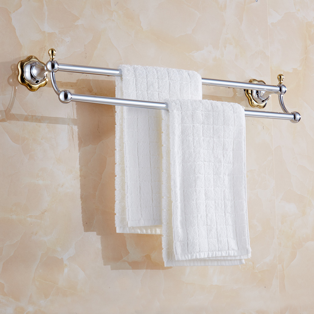 Flower Design Towel Bar Modern Stainless Steel Towel Shelf Silver Polish Double Bar Towel Rack Bathroom Accessories<br><br>Aliexpress