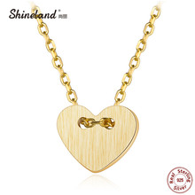 Shineland New Arrival Handmade Wire Drawing Gold Color Love Heart Necklace Pendant for Women Girl 925 Sterling-silver-jewelry(China)