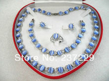 Wholesale price FREE SHIPPING ^^^^women's jewelry sky blue opal white gold Earring Bracelet Necklace Ring(China)