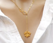yiustar   Infinity Lotus Lariat Pendant  Necklace Figure Eight Lotus Flower Chokers Necklace for Women Collier  Femme  XL043