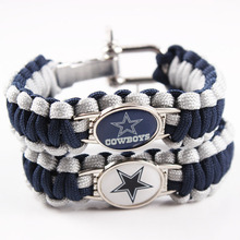 6pcs American Football Dallas Cowboys Paracord Bracelet Adjustable Survival Bracelet Sport Fans Camping Bracelet Drop Shipping(China)