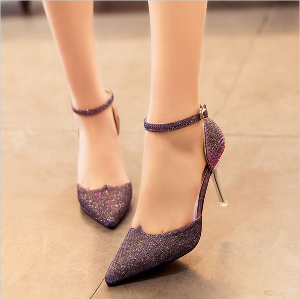 New fashion ladies high-heeled shoe buckle high heel Xiehuan foot single word buckle pointed hollow gold silver Sandals Shoes<br><br>Aliexpress