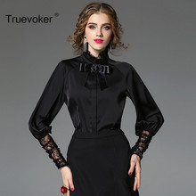 Truevoker Spring Designer Blouse Women's Cute Princess Puff Sleeve Stand Collar Bow Lace Patchwork Boutique Top(China)