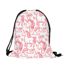 ZHBSLWT New Backpack Fashion Unicorn Drawstring bags 3D Printed Polyester New Fashion Women Small Travel Bags-32