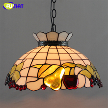 FUMAT Stained Glass Pendant Lamps Glass Shade Apple Pear Fruit Lamp Bar Coffee Living Room Kitchen Light Glass Art Pendant Light(China)