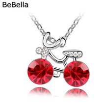 BeBella cute bicycle pendant necklace made with Czech crystal for 2016 kids women's gift