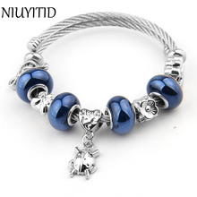 NIUYITID Women Bead Bracelet Fashion Vintage Silver Color Charm Braclet Jewelry For Girls DIY