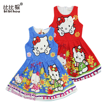 bibihou 2017 Summer Baby Girls Dress Hello Kitty Cartoon fancy Dresses Children Princess Vestidos Roupas Infantis girls Clothes
