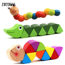 YNYNOO 1pc Montessori Learning Education Multicolour Magic Twisting Insect Kid Toy Wooden Puzzle Baby train Fingers Flexibility