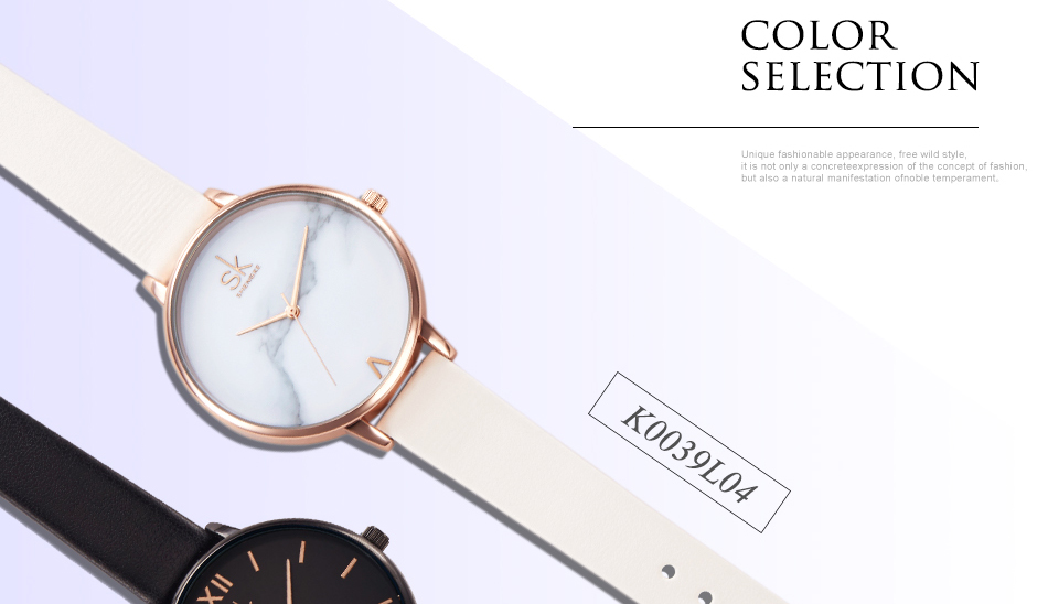 Shengke Top Brand Fashion Ladies Watches Leather Female Quartz Watch Women Thin Casual Strap Watch Reloj Mujer Marble Dial SK 25