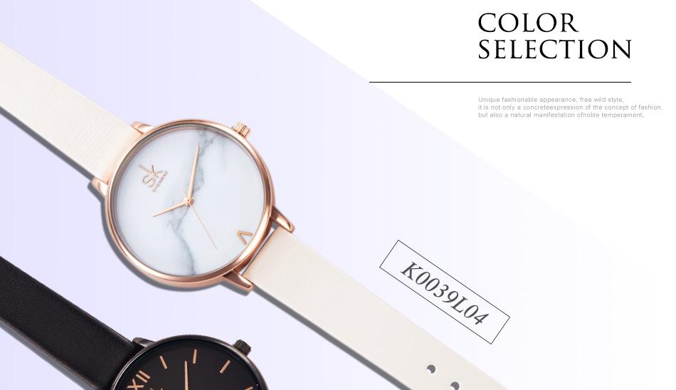 ساعة نسائية حزام جلد أنثى كوارتز الوان جميلة 8
