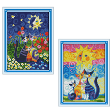 Joy Sunday cross stitch kits Cat sun carton diy DMC14CT11CT cotton fabric livingroom baby room kid toy painting factorywholesale