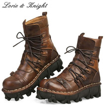 Fashion Cowhide Genuine Leather Military Uniform Boots Mid-calf Platform Motorcycle Martin Boots Steam Punk Combat Boots(China)