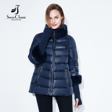 Winter coat jacket women warm 2017 female Winter Coats Real Rabbit Fur Collar/sleeve detachable Jackets Hot sale SnowClassic(China)