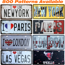 [ Famous City ] Car American License Plate Vintage Home Decor Tin Sign Shabby Chic Metal Sign Plaque Metal Decorative Vintage(China)