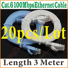 20PCS/LOT BEST PRICE & QUALITY 9FT 3M CAT6 CAT 6 Flat UTP Ethernet Network Cable RJ45 Patch LAN Cord wholesale,Express Shipping