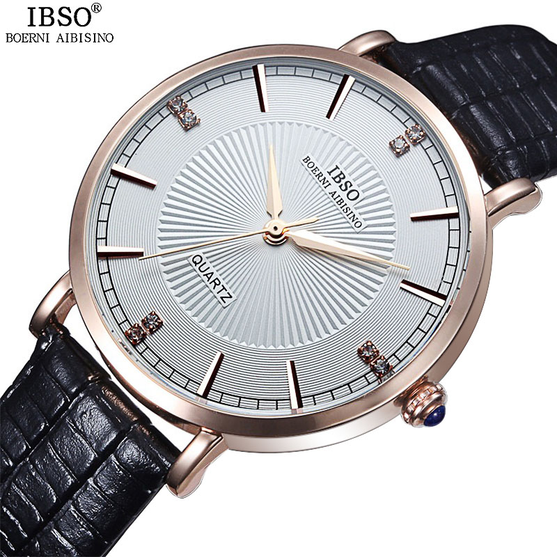 IBSO Top Brand Fashion Women Watches 2017 Genuine Leather Strap Quartz Watch Women 30m Waterproof Ladies Watches Montre Femme<br><br>Aliexpress
