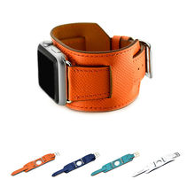 URVOI cuff band for apple watch series 3 2 1 strap for iwatch belt for Hermes watch quality genuine Epsom luxury Leather loop(China)