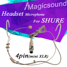 Flesh Color 4Pin Headset Condenser Microphone For Shure Mini XLR TA4F Connector Plug Earphone Wireless Body-Pack Transmitter