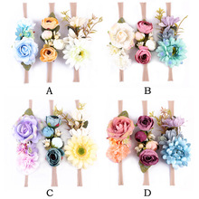 3pcs/set Fashion kids Floral Headband Bohemian Style Rose Flower Crown nylon Hairbands Beach Hair Accessories(China)