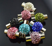 Mixed color Crystal Shambhala Disco Ball Magnetic Clasp with Inner hole 5mm silver stone Bracelet Necklace Jewelry Clasps(China)