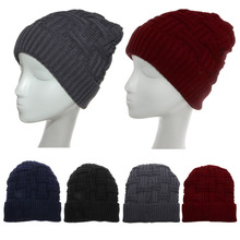 Men Women Knit Baggy Beanie Warm Winter Hat Slouchy Chic Knitted Cap Skull  Blue/Black/Deep Gray/Wine Red