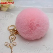Artificial Rabbit Fur Ball Keychain Bag Plush Car Key Ring Car Key Pendant Delicate Gift