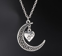 Crescent Moon Long Chain Necklace Alloy Heart DOG CAT Paw Prints Charms Pendants Necklaces New