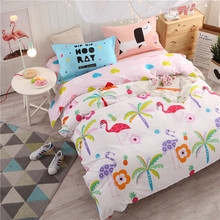 Modern girls bedding collections bird flower cartoon grid bed linen sheet duvet cover set twin full queen size 4 pcs 100% cotton