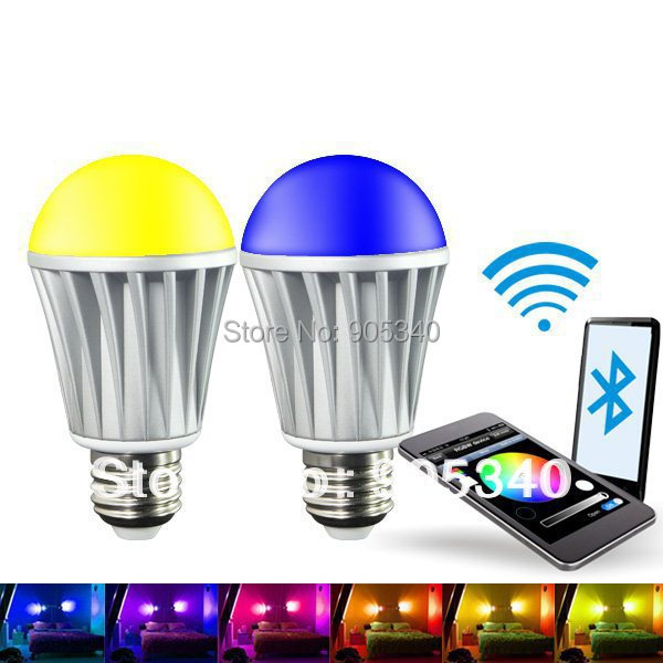 Bluetooth 7W RGBW (RGB+Warm white)LED bulb,Any IOS support bluetooth version 4.0 or above,For Iphone 4S or above.Magic led light<br>