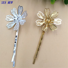 SEA MEW Fashion Barrettes 30mm Flowers Hair Clip Base Setting Silver Gold Color Hairpin DIY Jewelry Accessories For Women(China)