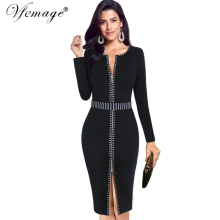 Vfemage Women Autumn Winter Elegant Front Zip Up Contrast Long Sleeve Slim Work Office Business Party Cocktail Sheath Dress 6266(China)