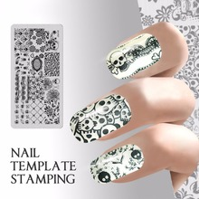 Buy Quadrate Nail template stamping Halloween Nails Stamp plate Skull Flower Image Plate template stencil Manicure Decals DIY Tool for $1.22 in AliExpress store
