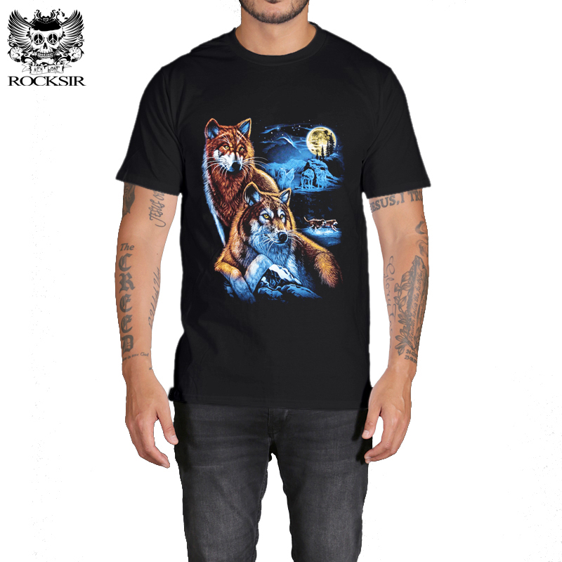 Rocksir 3d wolf t shirt mens Brand 3D Indians wolf Print t shirts Cotton wolves Men t-shirt Casual Man Tees Mens Tops 14