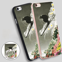 spring skiing prints Soft TPU Silicone Phone Case Cover for iPhone 5 SE 5S 6 6S 7 Plus