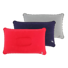 1pc Outdoor Portable Folding Air Inflatable Pillow Double Sided Flocking Cushion for Travel Plane Hotel Hot Worldwide(China)