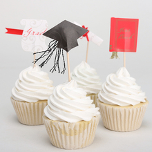 24pcs/lot Graduation Certificate Cap Cake Decoration Cupcake Wrappers Toothpicks Cupcake Toppers Party Supplies