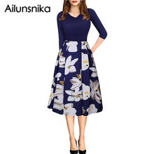 Ailunsinika Autumn Women Floral Print Vintage Dress Three Quarter Sleeve Retro Knee Length Office Formal A Line Skater Dress