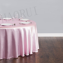 10pcs Customized 108'' Pink Round Dining Table Cloths Satin Tablecloths for Wedding Party Decoration Restaurant Free Shipping