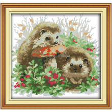 Hedgehog and Mushroom Counted Cross Stitch 11CT 14CT Cross Stitch Set Wholesale Animal Cross-stitch Kits Embroidery Needlework
