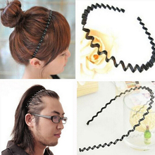 1 pc Fashion Mens Women Unisex Black Wavy Hair Head Hoop Band Sport Headband Hairband hair accessories A171-2(China)