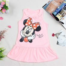 Hot Sale Girls Dresses, New Designer cotton 2017 summer cartoon cat child clothing baby dress princess dress summer child dress