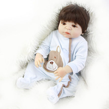 Buy NPK 23'' Reborn Baby Dolls Boy Model Full Silicone Vinyl Body Realistic Newborn Baby Wear Wig Fashion kids Birthday Xmas
