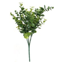 1 x Artificial Plastic Plant Eucalyptus Grass 7 Branches for Home Wedding Decoration Green---Large Leaves